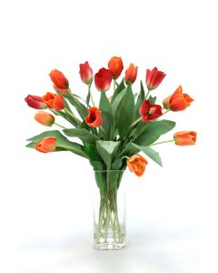 Mixed Tulips in Square Tall Vase