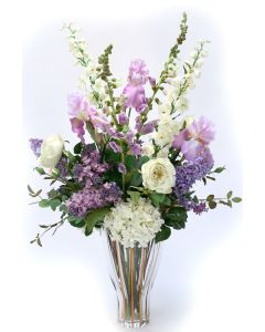 Hydrangea with Roses, Iris and Foxglove in Fluted Vase
