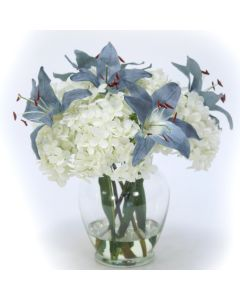 Hydrangea with Lilies in Ginger Jar