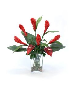 Red Ginger Torch with Red Anthurium in Glass Vase