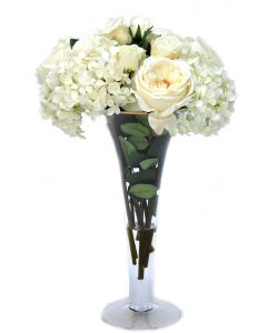 White Roses and Hydrangeas in Trumpet Vase