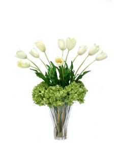 White Tulips and Green Hydrangeas in Fluted Rim Trimmed Glass Vase