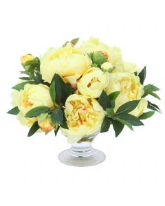 Yellow Peonies in Low Footed Bowl