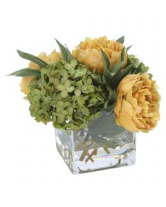 Green Hydrangea with Gold Peonies in Square Glass
