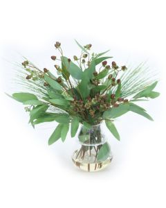 Hypericum Berries in Glass Vase with Rim