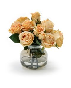 Talisman Roses in Light Amber Metallic Vase