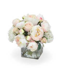 Cream White Hydrangea and Roses with Peonies in Glass Square