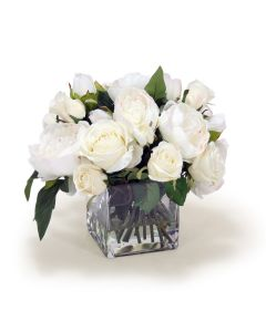 Cream White Peonies and Roses in Glass Square