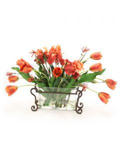 Orange Tulips with Iris in Rectangle Glass with Metal Holder