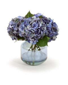 Blue Hydrangeas in Blue Vase