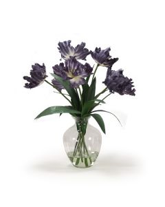 Navy Blue Parrot Tulips in Glass Vase