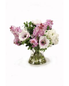 Lilac and White Floral in Glass Vase