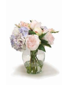Pink and Lavender Mix of Peonies and Hydrangeas in Round Vase