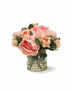 Peach Peonies with Peach Roses in Glass Cylinder
