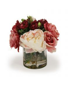 Burgundy Roses with Peonies in Round Cylinder