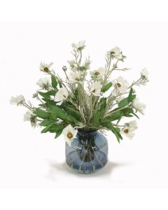 White Cosmos with Eucalyptus in Blue Vase