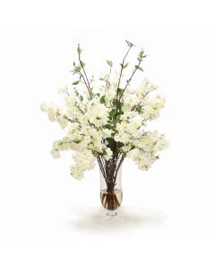 Cream White Cherry Blossoms in Flared Urn