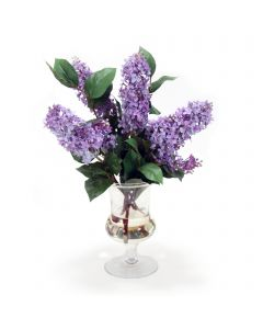 Lavender Blue Lilac in Glass Urn