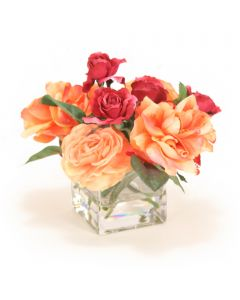 Peach and Burgundy Rose Mix in Glass