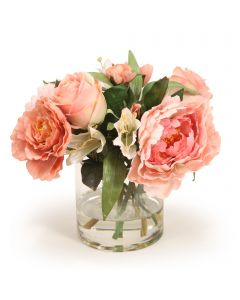 Roses and Peonies with Crown Imperial in Round Glass