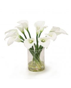 Calla Lilies in Round Glass