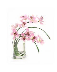 Lavender Cymbidium Orchid in Marquis Vase