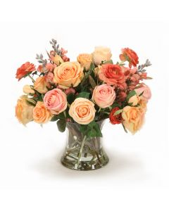 Peach Roses, Coral Ranunculus, Pink Roses in Clear Hourglass Vase