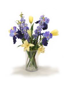 Spring Mix of Blue and Yellow Iris and Tulips in Glass Cylinder