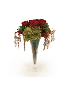 Burgundy Roses, Green Hydrangea and Pokeberries in Trumpet Vase
