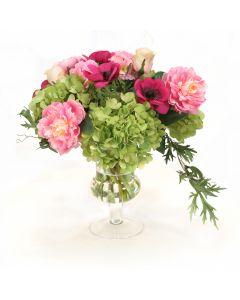 Mixed Garden Flowers in Glass Urn