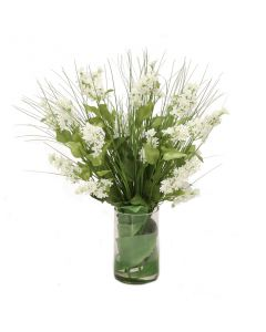 White Lilacs and Grass in Glass