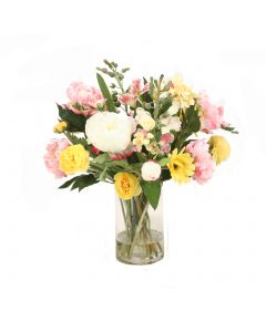 Spring Mix with Tulips, Peonies and Daisies in Glass