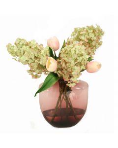 Hydrangeas and Pink Tulips in Oregon Violet Vase