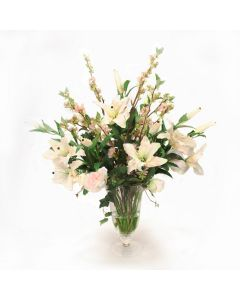 Casablanca Lilies Pear Blossom and Peonies in Flared Glass