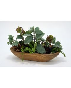 Succulents with Hen & Chicks in Wooden Dough Bowl