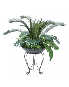 Tropical Greenery Mix in Metal Plant Stand