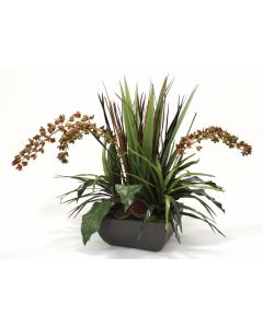 Greenery and Natural in Rust Square Rust Planter with Orchids