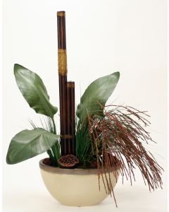 Mixed Grass with Pods and Rattan Poles in Small Oval Earthenware Vase