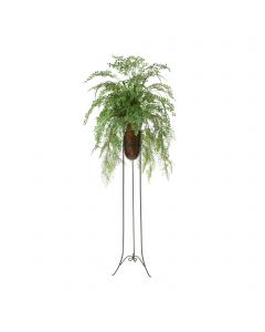 Mixed Greenery in Brown Vase in Planted Stand