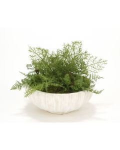 Sarfari Pine and Fern Spray Mix in Fluted Bowl