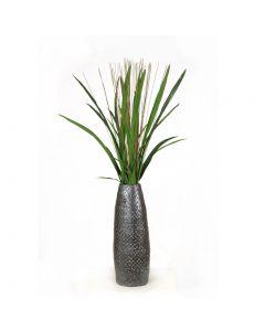 Cymbidium Foliage with Reeds in Dark Pewter Vase