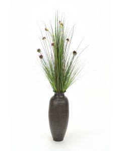 Grass with Allium in Black Pewter Hand Hammered Vase