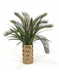 Cycas Palm and Orchid Foliage in Earthenware Burnt Gold Zig Zag Vase