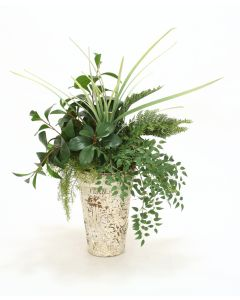 Leafy Branches and Mixed Ferns in Tall Fern Embossed Crackle Finish Clay Pot
