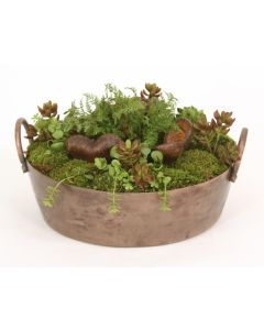 Fern, Pods, Succulents, Moss in Antique Copper Tray with Handles