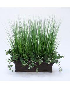 Swedish Ivy Bush, Grass in Black Crackle Window Box