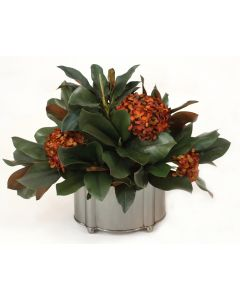 Magnolia Foliage with Rust Hydrangeas in Pewter Oval Planter