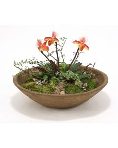 Lady Slippers with Mixed Greenery in Tuscan Brown Round Bowl