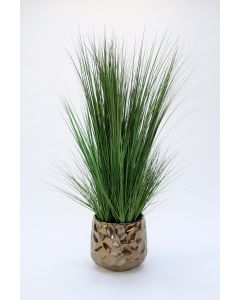 Multi and Two Toned Green Grasses in A Burnt Gold Ceramic Gabbi Planter