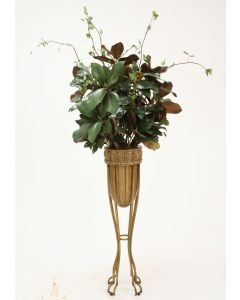 Magnolia Branches in Gold Accented Planter with Iron Stand